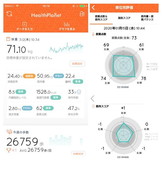 スマートフォンアプリ「ヘルスプラネット」画面