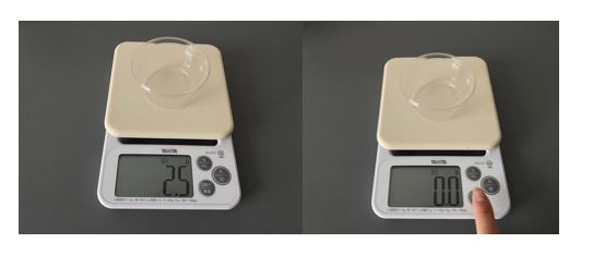 ▲計量するときは忘れずに容器の重さを引きましょう