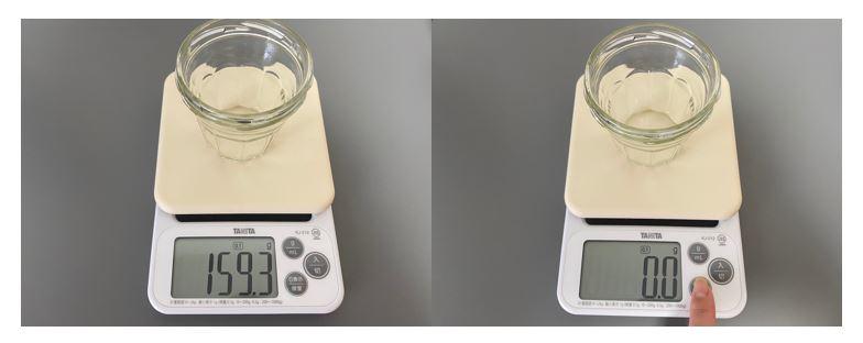 ▲今回も計量はタニタの「デジタルクッキングスケール KJ-212」を使いました。計量するときは忘れずに容器の重さを引きましょう