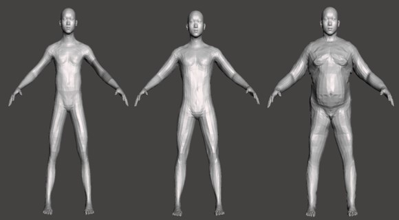 ▲開発段階の身体モデル。体組成から人体モデルをつくる技術をゲームキャラクターに応用しています。